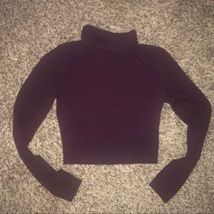 Crop top long sleeve purple turtleneck